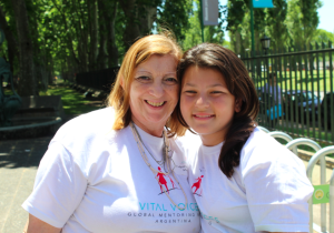 Maria Luisa with one of her daughters at the Vital Voices Argentina  Mentoring Walk in Nov. 2013
